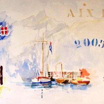 * 139 Navig'Aix, aquarelle, 60X30 encadrée