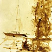 * 719- Dessin lavis réalisé autour du lac de Gérardmer en situation, à la teinture merisier ,sur papier Lana 140 gr