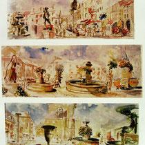 304- 3 bandes dessinées sur Remiremont,dont 2 sur toutes les fontaines de la ville , aquarelles 85 x 33