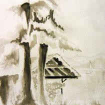 * 207- Kattendyke ,le lac de gérardmer. Lavis encre de chine 20 X 30