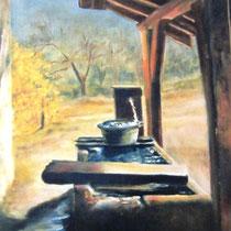 344- La fontaine de la ferme, pastel  50x70