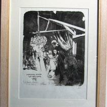 **1117- Véritable lithographie d'après un dessin sur pierre, peint en direct à la guinguette de Luxeuil -les-Bains