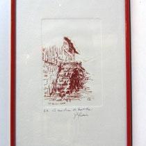 *1099-  Gravure,estampe :   Le haut-fer de Bois-de Champ et sa roue d'eau