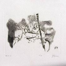 * 998-Gravure,estampe musique :  Trio, Contrebasse, violons