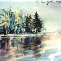 194- Le lac gelé, pastel 35 X50
