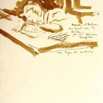 * 474- Lors d'une exposition de peinture à Thann, animation d'artistes et d'artisans,21 x 30 21 x 30, lavis merisier