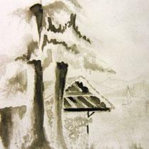 * 670- Kattendyke, lavis d'encre, 20 x 30