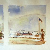 *185- Le lac depuis le quai, aquarelle 85 X 33