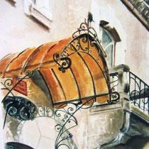 """121- Marquise de la Villa """"Les tilleuls"""" , aquarelle 50X70"""