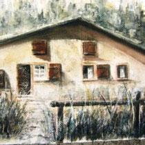 *681- La ferme de Kattendyke, 40 x 50,mixte aqua-pastel , Arches 350gr