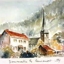 320- Le village de Dommartin, aquarelle réalisée depuis mon balcon, 30 x 40, a servi pour la page de couverture d'un bulletin municipal.