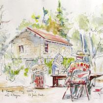 245- A la ferme, dessin aquarellé, 40x50