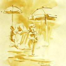* 717- Dessin lavis réalisé autour du lac de Gérardmer en situation, à la teinture merisier ,sur papier Lana 140 gr