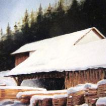 341- La scierie de Rochesson l'hiver, huile 50x40