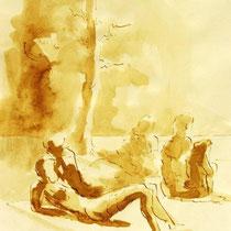 * 715- Dessin lavis réalisé autour du lac de Gérardmer en situation, à la teinture merisier ,sur papier Lana 140 gr