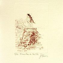 * 373 Estampe de la roue d'eau du Haut -Fer, vélin d'Arches, 20x30