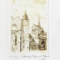 * 1074-  Gravure,estampe :   La Basilique St-Maurice d'Epinal
