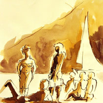 * 271- Lavis teinte merisier, la vie autour du lac de Gérardmer, 21x30