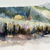 * 249-  Le village de Lièzey, aquarelle 40x50