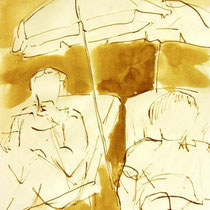 * 718- Dessin lavis réalisé autour du lac de Gérardmer en situation, à la teinture merisier ,sur papier Lana 140 gr
