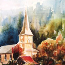 322- Village de Dommartin-lès-Remiremont, aquarelle 40x50