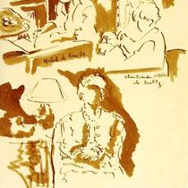 * 471- Lors d'une exposition de peinture à Thann, animation d'artistes et d'artisans, 21 x 30, lavis merisier