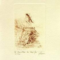 * 375  Estampe de la roue d'eau du Haut -Fer, vélin d'Arches, 20x30