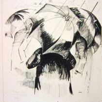 *1115-  Les parapluies, encre de chine, 50 x 70.