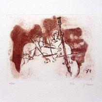 Gravure,estampe musique : *1005- Trio, Contrebasse, violons