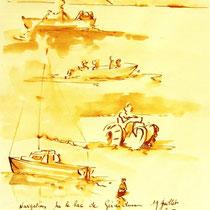 * 253- Lavis teinte merisier, la vie autour du lac de Gérardmer, 21x30