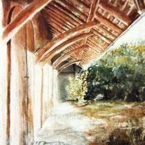 246- Les écuries de Wesserling, Vosges alsaciennes, aquarelle 50x70