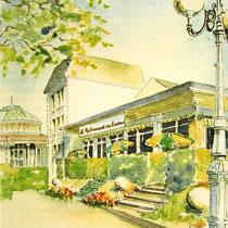 349- L'hotel de l'Etablissement à Contrexéville,aujourd'hui disparu. Aquarelle 30x40
