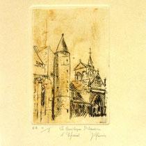 * 1072-  Gravure,estampe :   La Basilique St-Maurice d'Epinal, d'après un dessin réalisé assis sur les marches du palais de Justice. Dessin offert à une amie pour son départ d'Epinal..