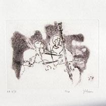 Gravure,estampe musique : * 997- Trio, Contrebasse, violons
