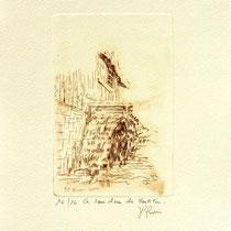 * 374 Estampe de la roue d'eau du Haut -Fer, vélin d'Arches, 20x30