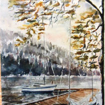 196- Le lac, aquarelle, 50 X 70 , peint en direct