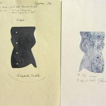 """* 1058-Gravure,estampe nu :  La plaque de zinc et l'estampe qui correspond intitulée """" Le repos du modèle."""""""