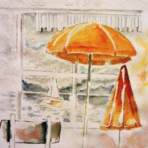 * 212-  Depuis Le Lido à Gérardmer: chaises parasols de la saison 1992,aquarelle 40x50
