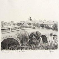* 1118- Dessin d'un village de la Vôge près de Mirecourt, 20 x 30, au crayon de papier.