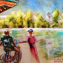 * 319-  Fête de la Voie Verte au plan d'eau de Remiremont, une dame costumée ! Pastel 50 x 70