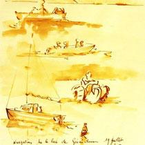 * 688- Dessin lavis réalisé autour du lac de Gérardmer en situation, à la teinture merisier ,sur papier Lana 140 gr