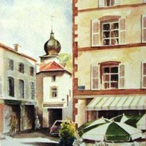 299- La place de la Courtine à Remiremont, vue sur La Carterelle et le clocher, aquarelle 50 x 70