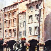 302- La fontaine du Cygne, les Arcades de Remiremont, huile 50 x 70