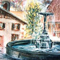 219- La place du Vieux marché à Gérardmer, et la vieille fontaine. Pastel 50 X 70