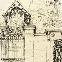 Une belle grille, un vieux chalet décoré, en face du laboratoire d'analyses, bvd Thiers à Remiremont, le chalet a disparu !