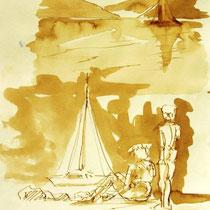 * 708- Dessin lavis réalisé autour du lac de Gérardmer en situation, à la teinture merisier ,sur papier Lana 140 gr