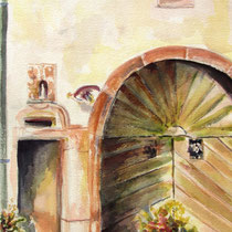 * 241-  La porte de grange typique de la ferme vosgienne,aquarelle 50x70