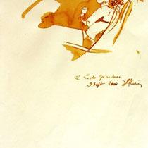 * 691- Dessin lavis réalisé autour du lac de Gérardmer en situation, à la teinture merisier ,sur papier Lana 140 gr