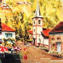 """346- Le village de Pierre-Percée , lors d'un concours de peinture :""""Les peintres dans la vallée de Celles-sur-Plaine"""" .Pastel 50x70."""