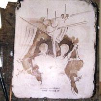 Voici une autre pierre lithographique, dont je n'ai rien pu tirer, la presse d'Epinal étant en panne à l'époque ;
